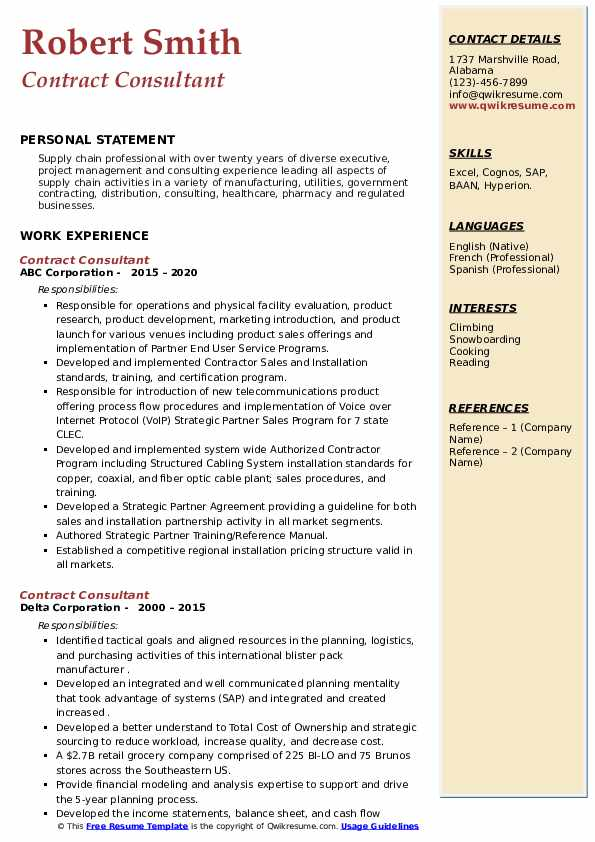 Contract Consultant Resume example