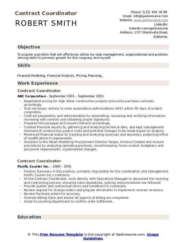 Contract Coordinator Resume Sample
