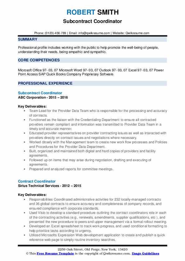 Subcontract Coordinator Resume Template