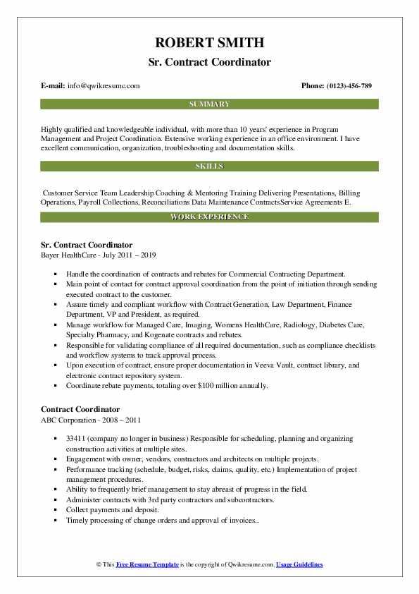 Sr. Contract Coordinator Resume Format