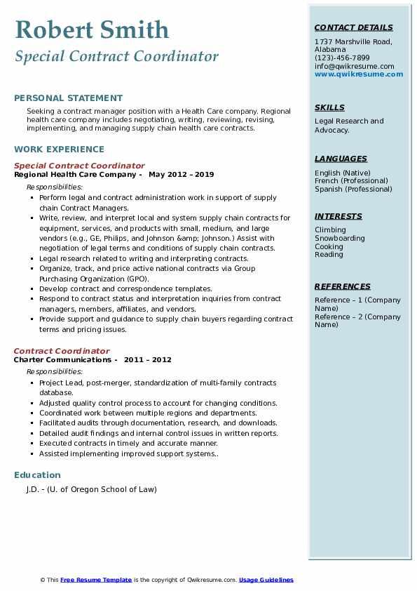 Special Contract Coordinator Resume Example