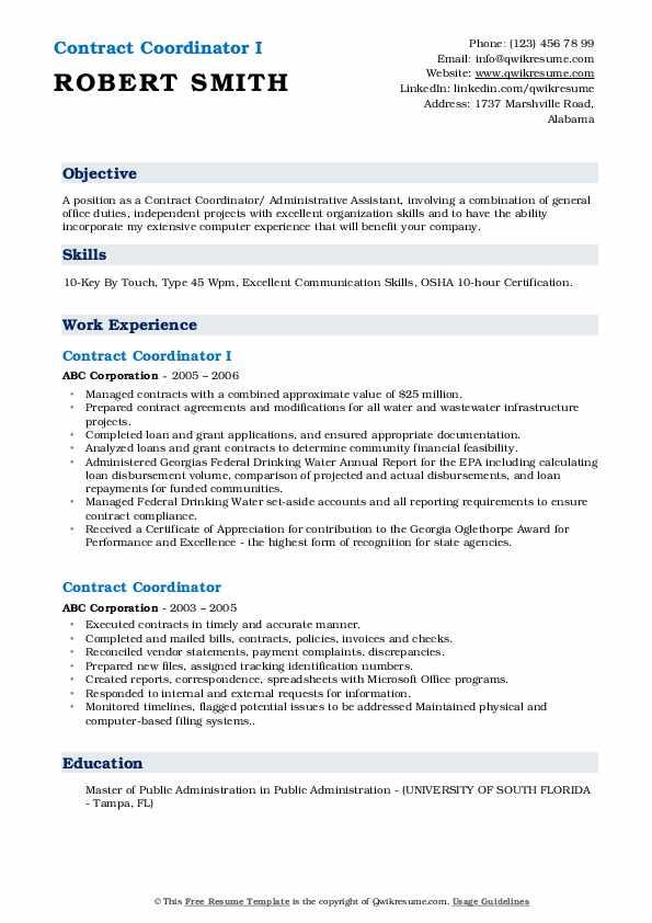 Contract Coordinator I Resume Template
