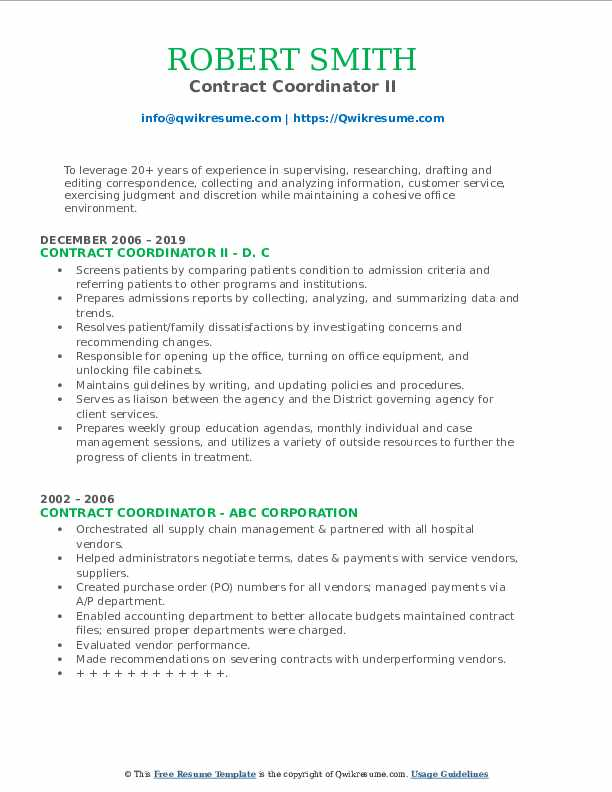 Contract Coordinator II Resume Example