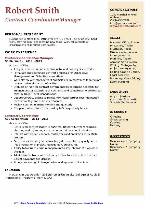 Contract Coordinator/Manager Resume Example