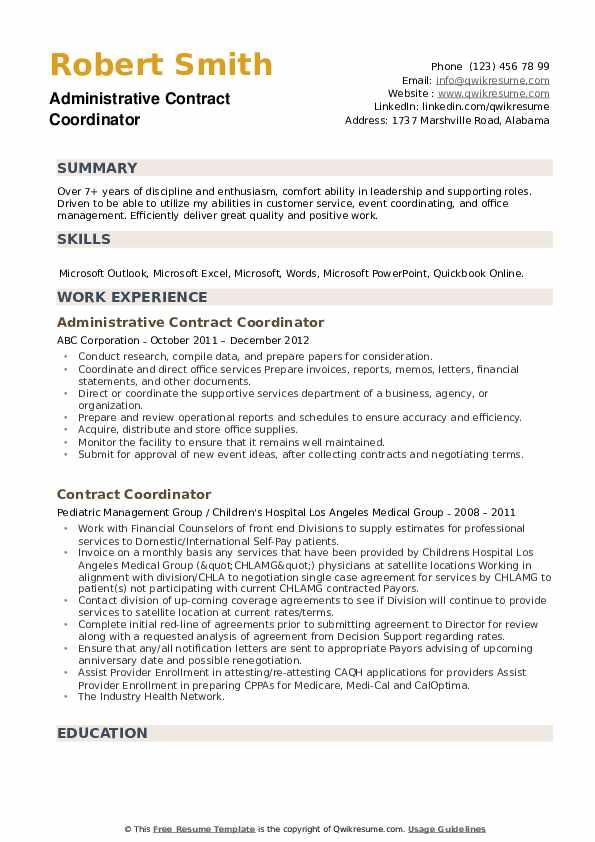 Administrative Contract Coordinator Resume Model