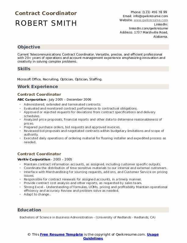 Contract Coordinator Resume example