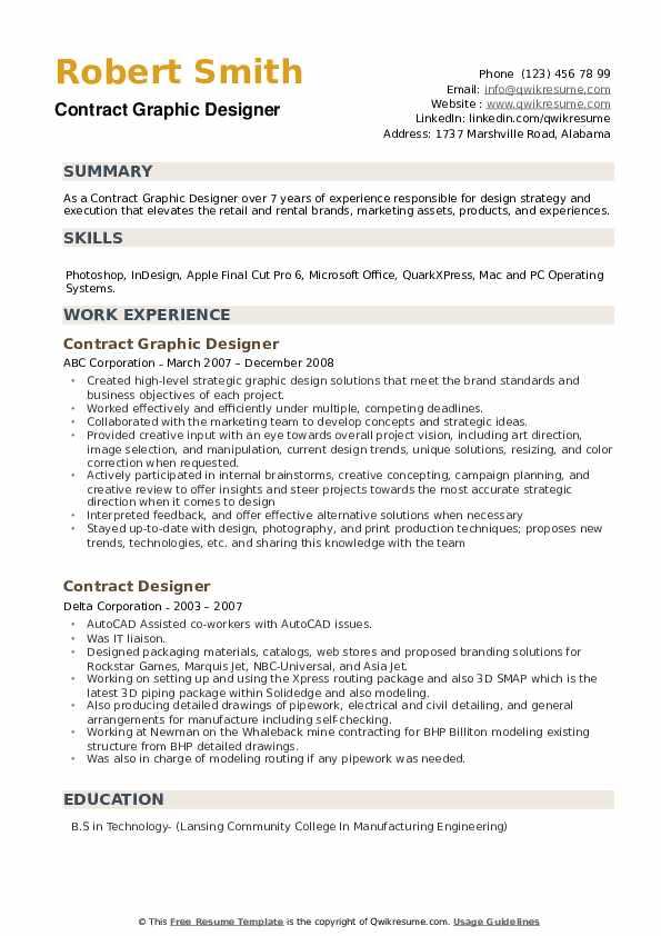 Contract Designer Resume example