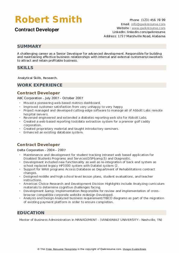Contract Developer Resume example