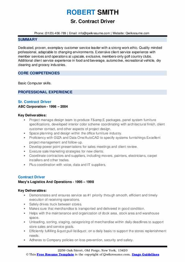 Sr. Contract Driver Resume Example