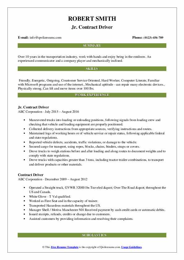 Jr. Contract Driver Resume Template