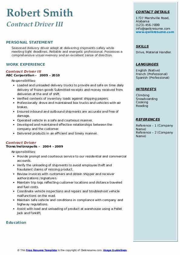 Contract Driver III Resume Example