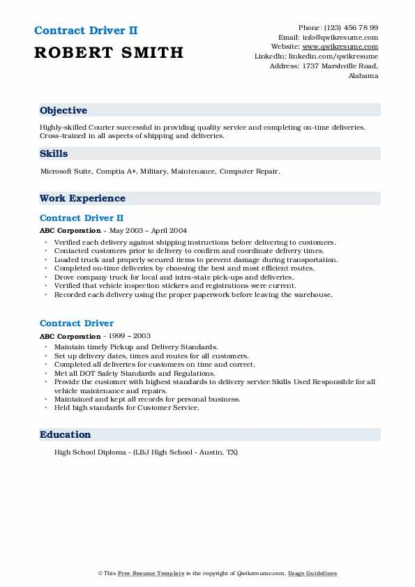 Contract Driver II Resume Template