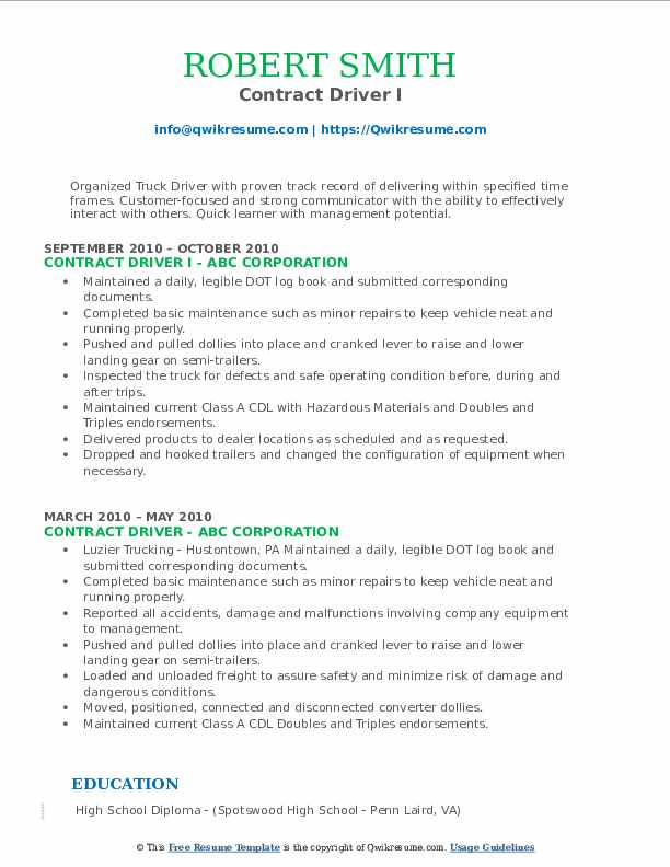 Contract Driver I Resume Template