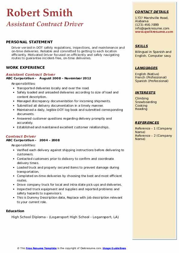 Assistant Contract Driver Resume Template