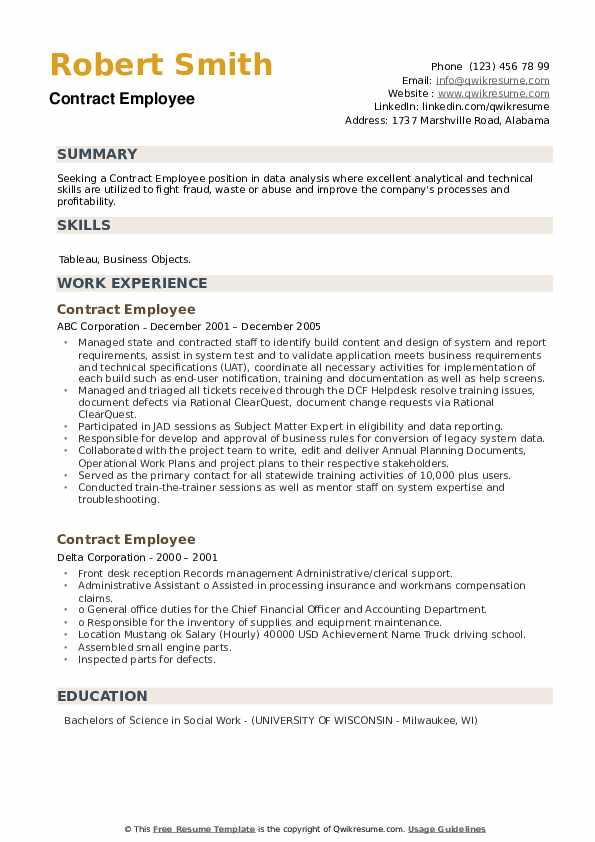 Contract Employee Resume example