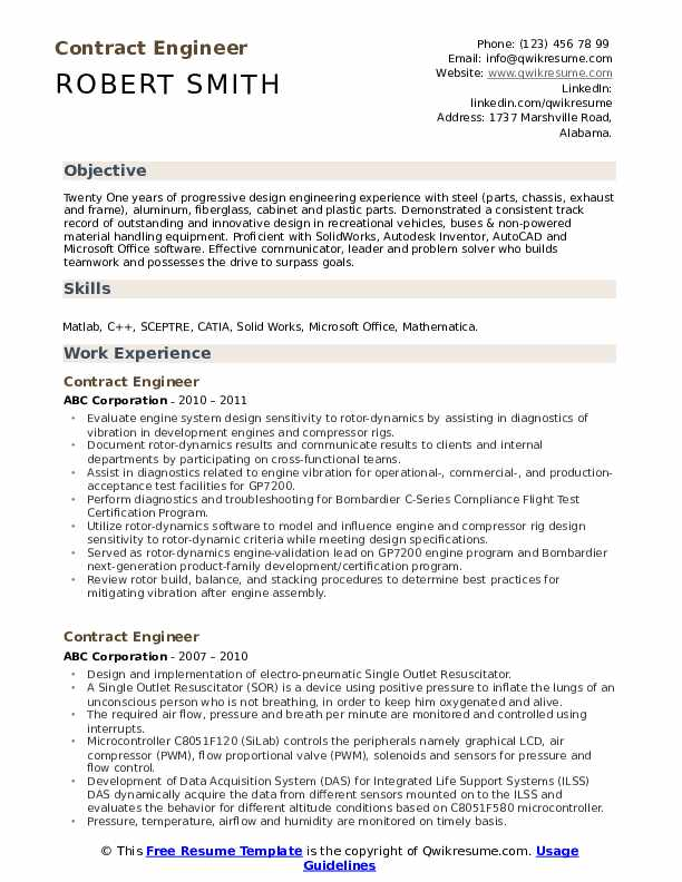 Contract Engineer Resume Samples Qwikresume