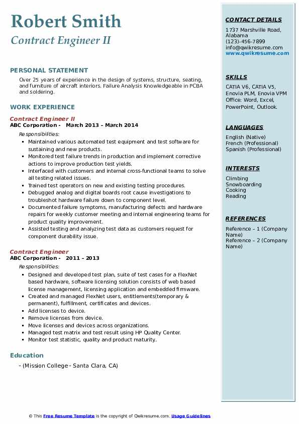 contract engineer resume samples