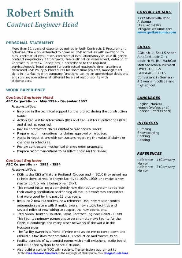 Senior Mechanical Engineer I Resume Model