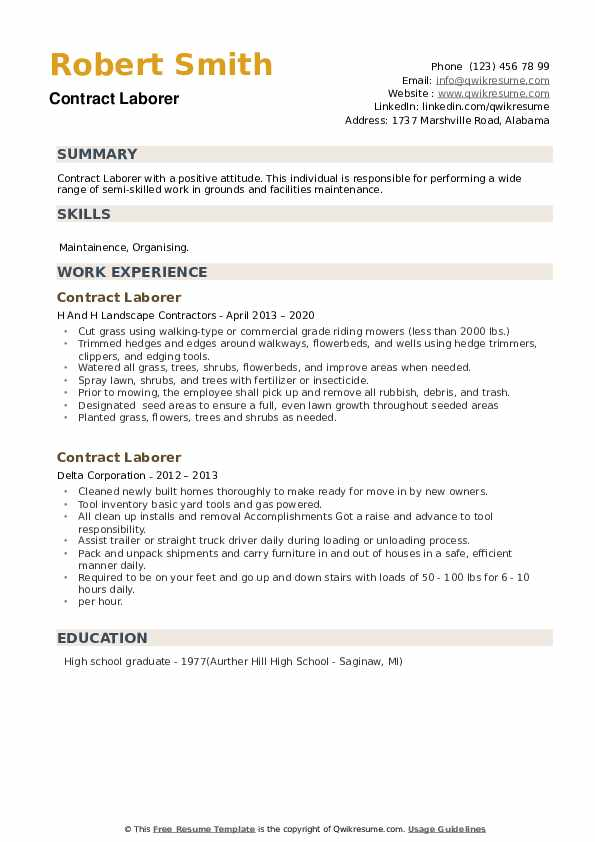Contract Laborer Resume example