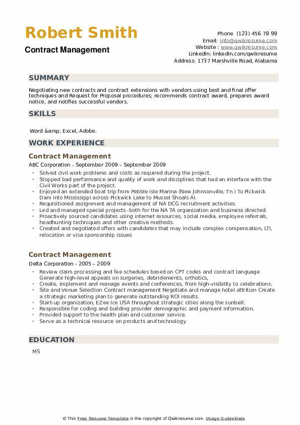Contract Management Resume example
