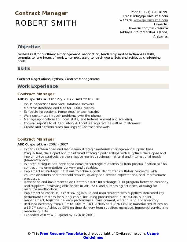 Contract Manager Resume Model