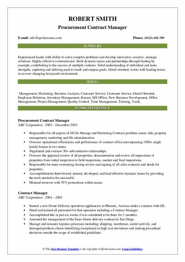 Procurement Contract Manager Resume Example