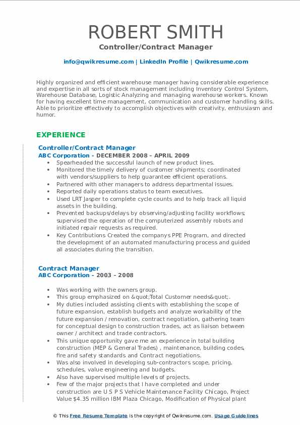 Controller/Contract Manager Resume Template
