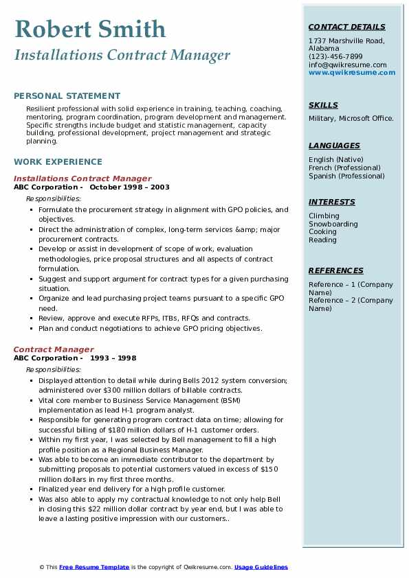 Installations Contract Manager Resume Template