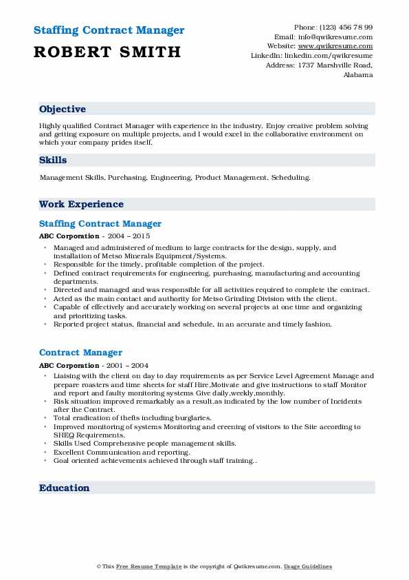 Contract Manager Resume Samples Qwikresume