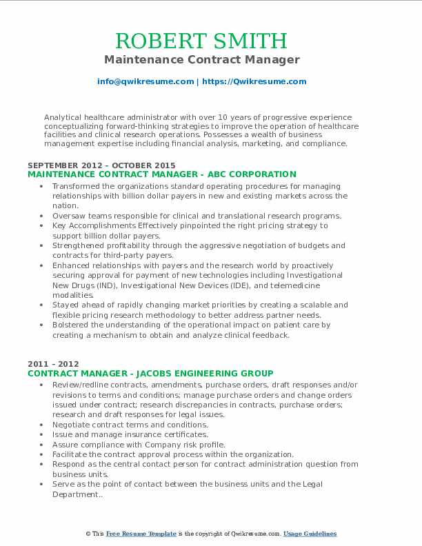 Maintenance Contract Manager Resume Example