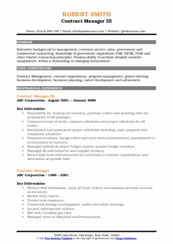 Contract Manager III Resume Example