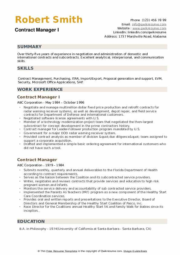 Contract Manager I Resume Example