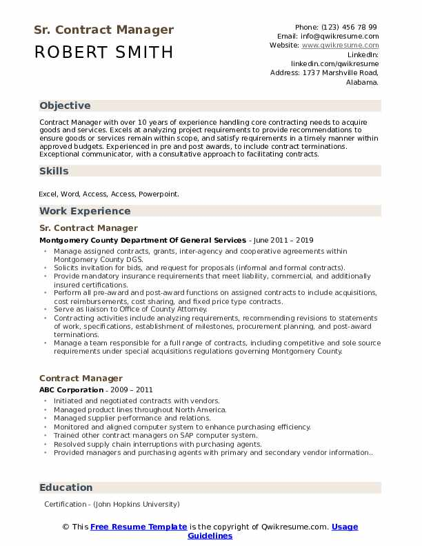 Sr. Contract Manager Resume Sample