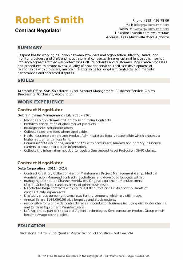 Contract Negotiator Resume example