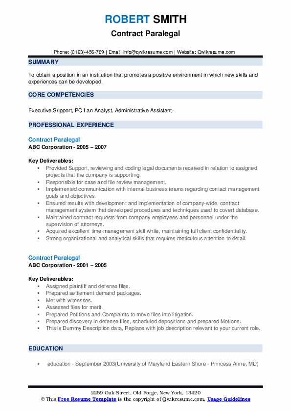 Contract Paralegal Resume example