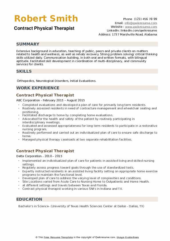 Contract Physical Therapist Resume example