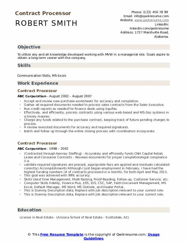Contract Processor Resume example