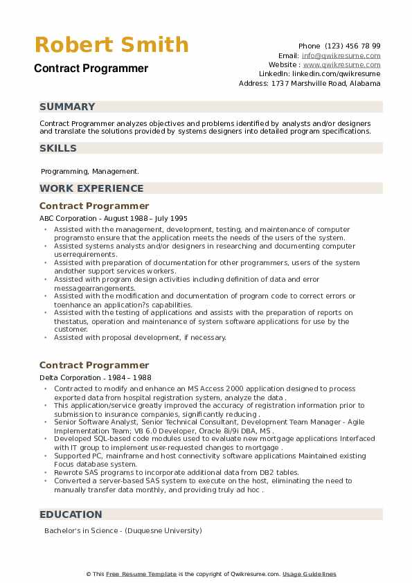 Contract Programmer Resume example