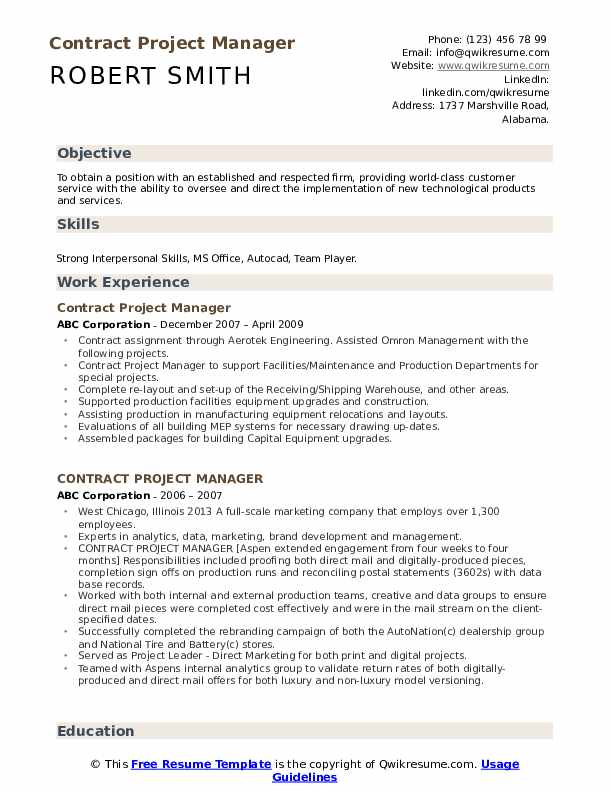 Contract Project Manager Resume example