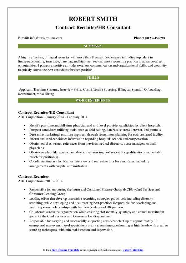 Contract Recruiter/HR Consultant Resume Template