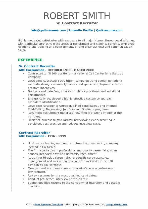 Contract Recruiter Resume Samples Qwikresume