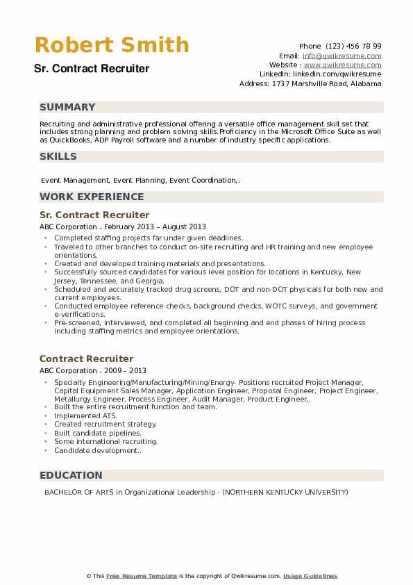 Sr. Contract Recruiter Resume Sample