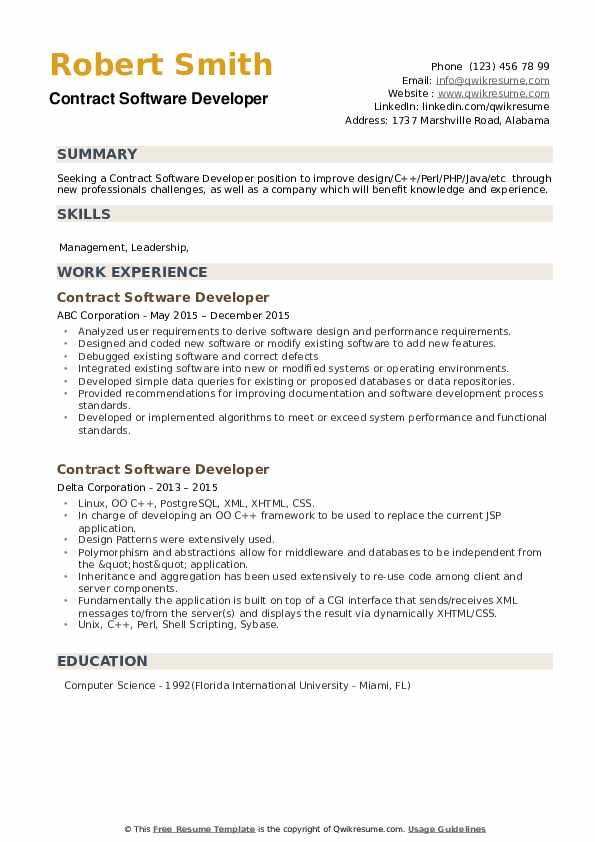 Contract Software Developer Resume example