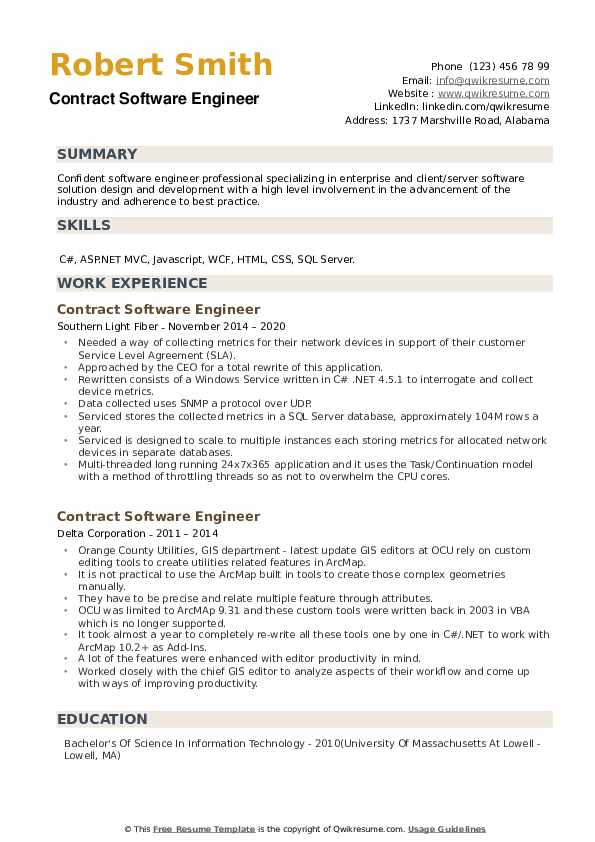 Contract Software Engineer Resume example