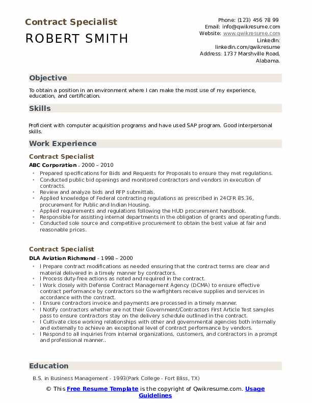 Contract Specialist Resume Samples Qwikresume