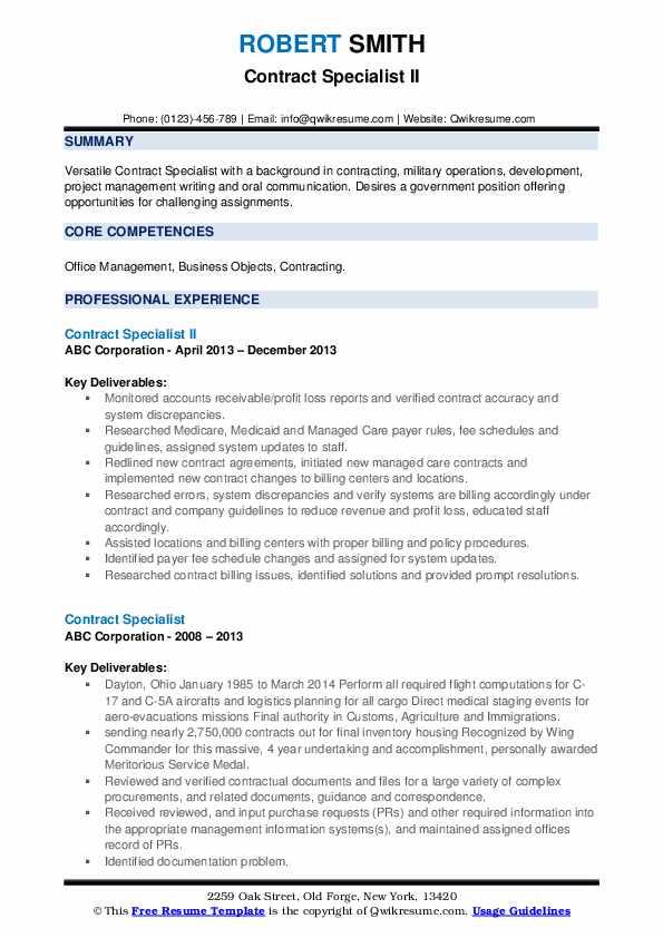 Contract Specialist II Resume Format