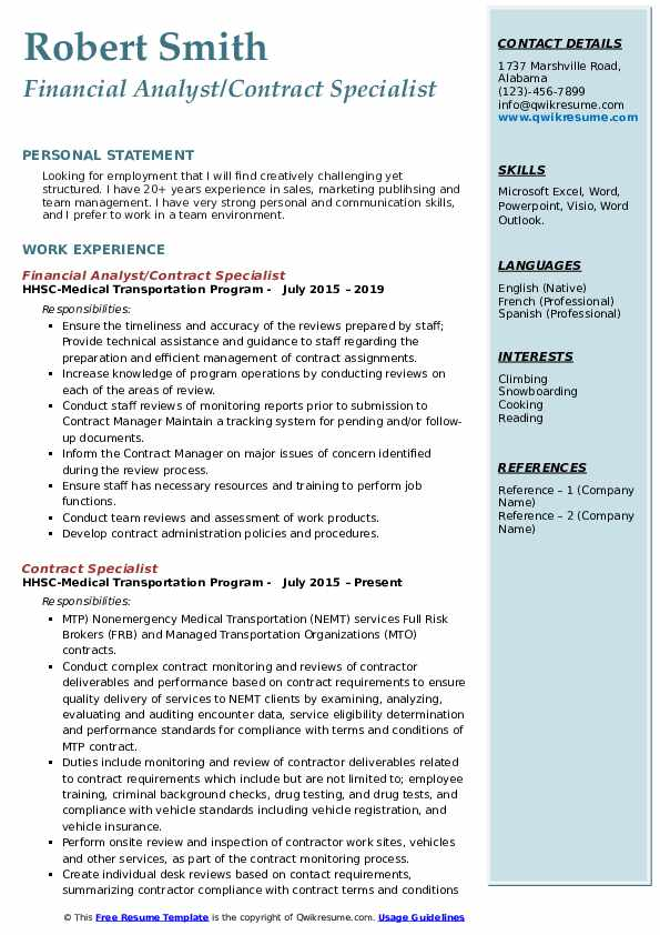 Financial Analyst/Contract Specialist Resume Format