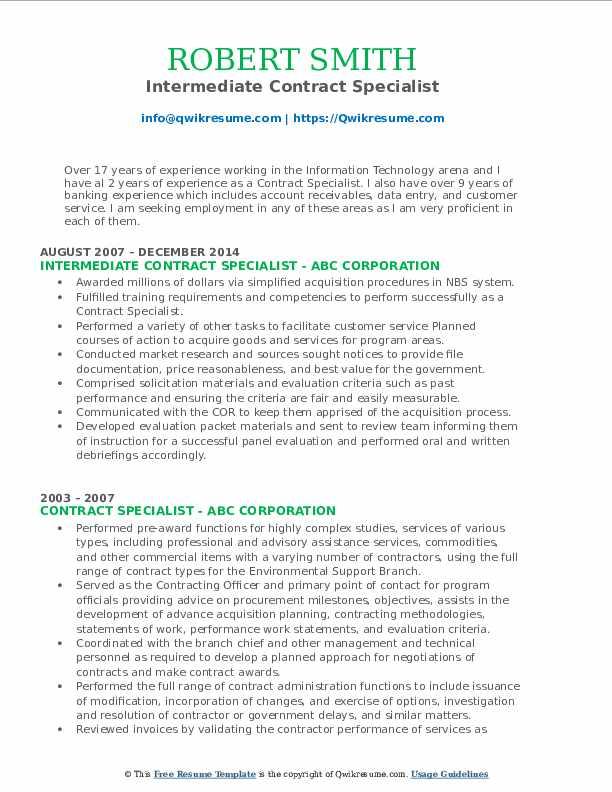 Intermediate Contract Specialist Resume Template