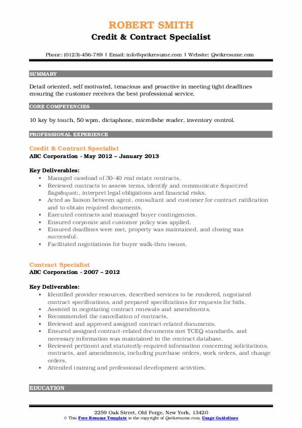 Credit & Contract Specialist Resume Model