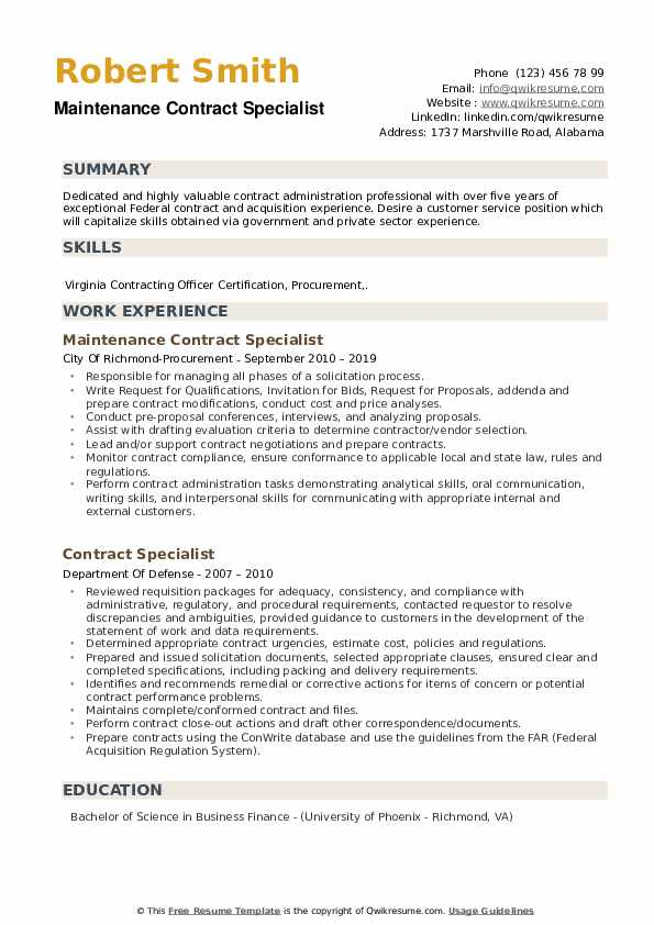 contract specialist resume samples